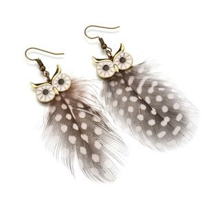 Natural Feather Owl Earrings ~ Boho Gypsy
